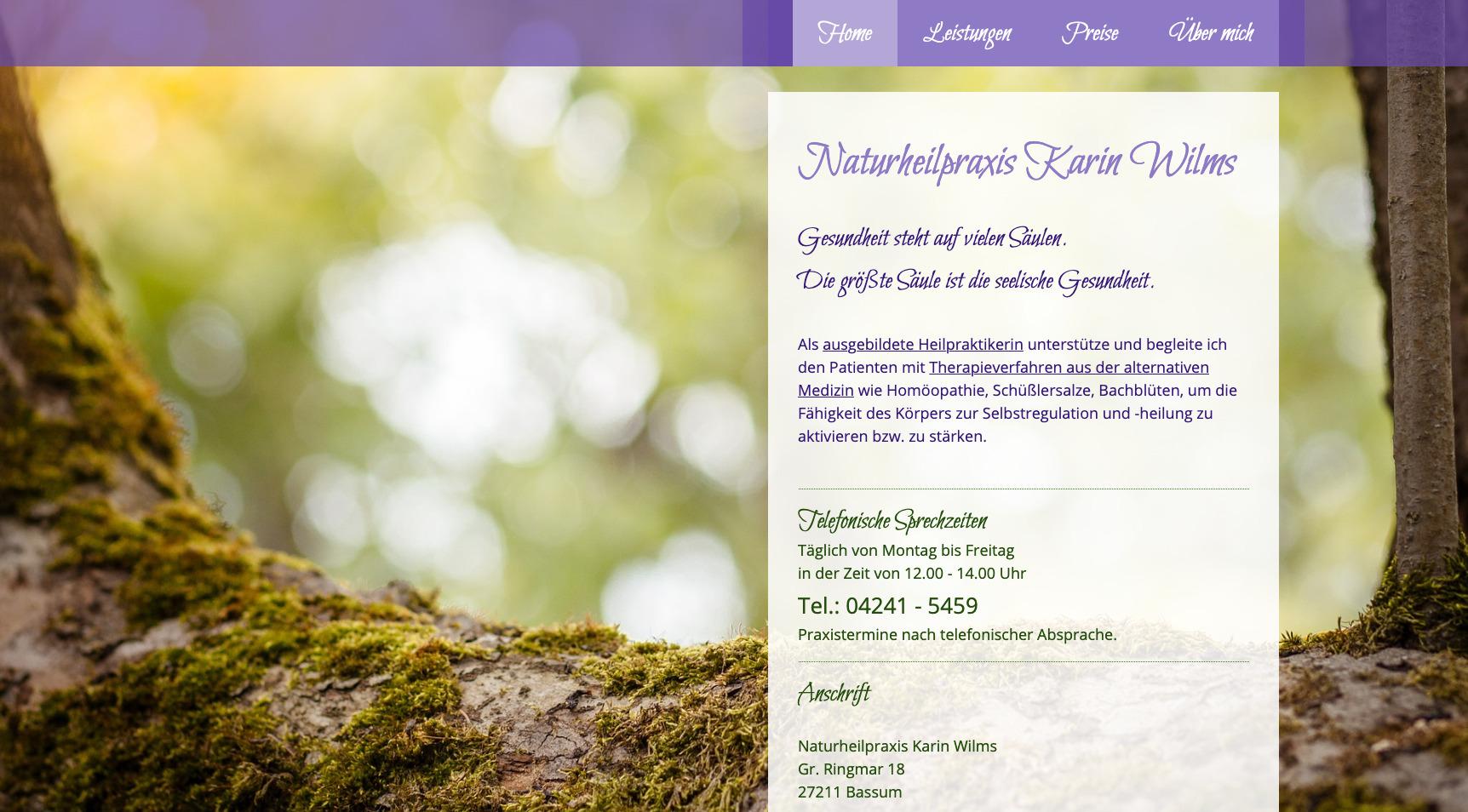 Naturheilpraxis Karin Wilms Beratung Layout Smart-Web-Lösung