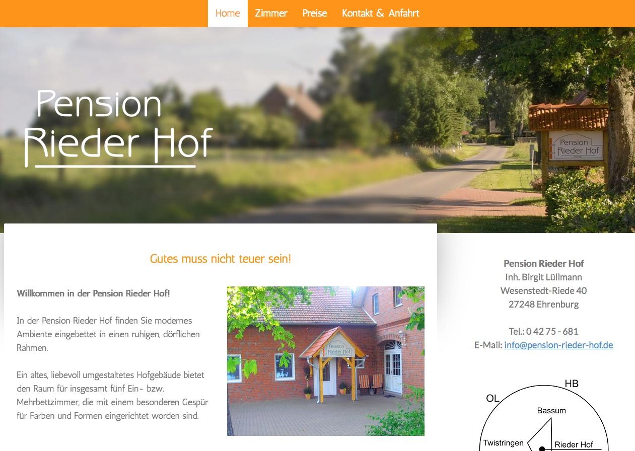 Webseite: Pension Rieder Hof